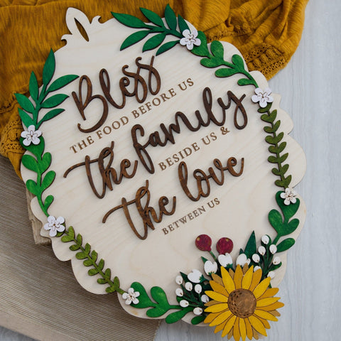 Bless this food and family wooden sign - Birch and Tides
