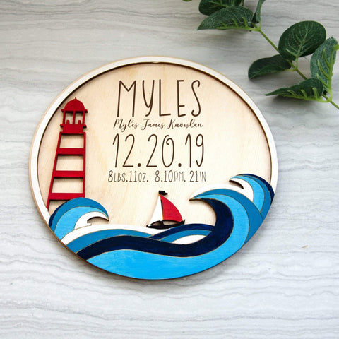 Boat Ocean Birth Announcement Sign - Birch and Tides