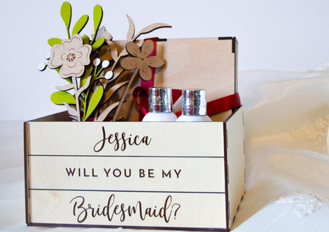 Bridesmaid wedding proposal crate - Birch and Tides