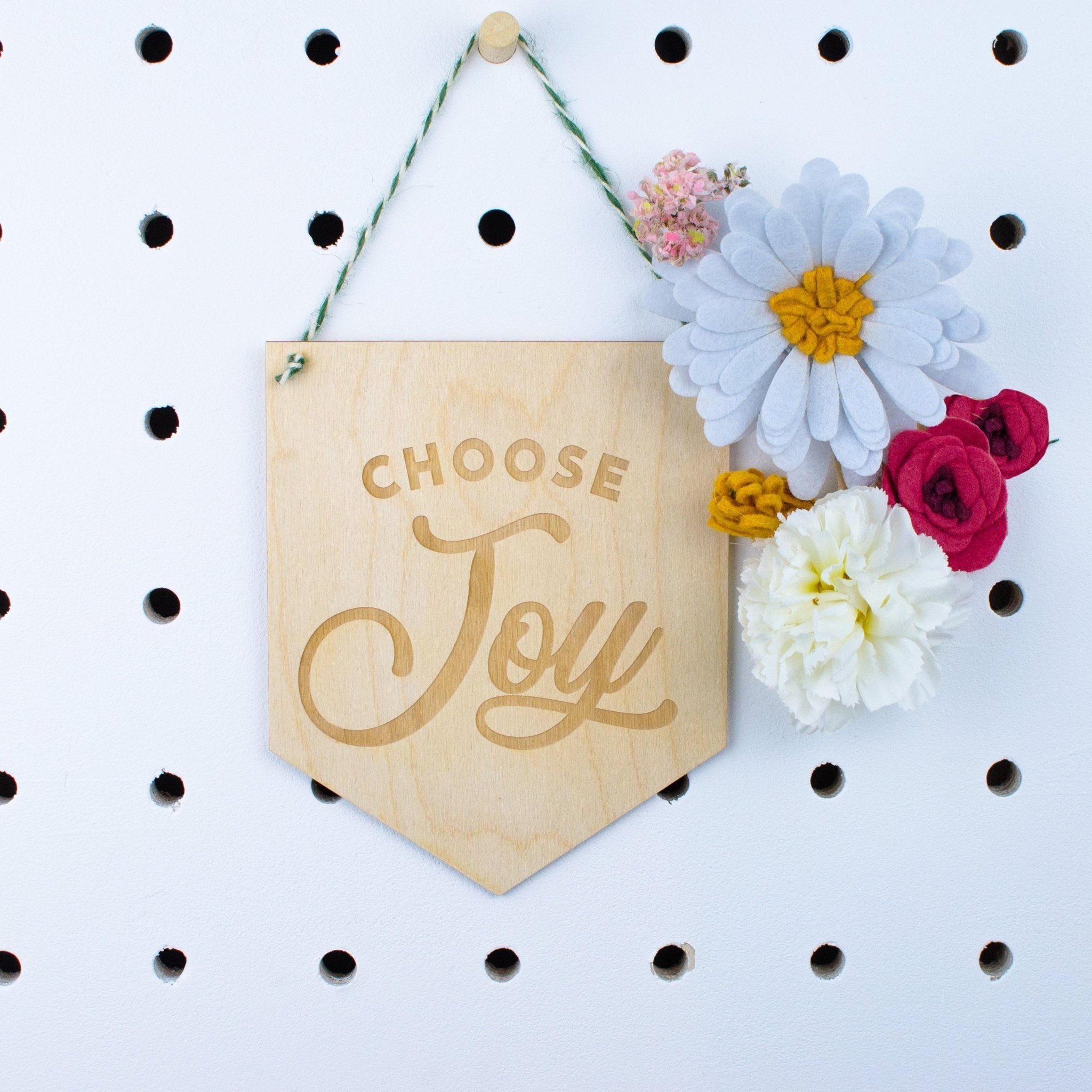 Choose Joy engraved Wooden Banner