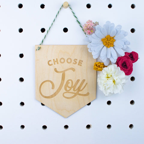 Choose Joy engraved Wooden Banner - Birch and Tides