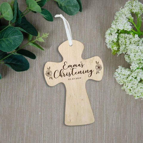 Christening and baptism gift personalised wooden cross - Birch and Tides