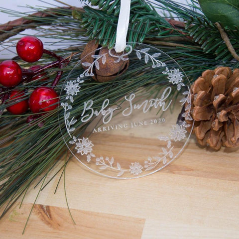 Clear Pregnancy Announcement Christmas ornament - Birch and Tides