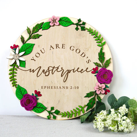 Contemporary christian wooden wall art - You are Gods masterpiece wooden wall sign - Birch and Tides