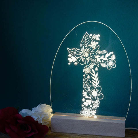 Cross of Flowers night light design - Birch and Tides