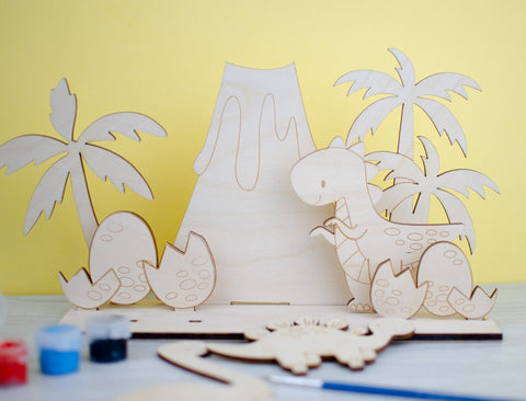 Dinosaur scene wooden painting kit - Birch and Tides