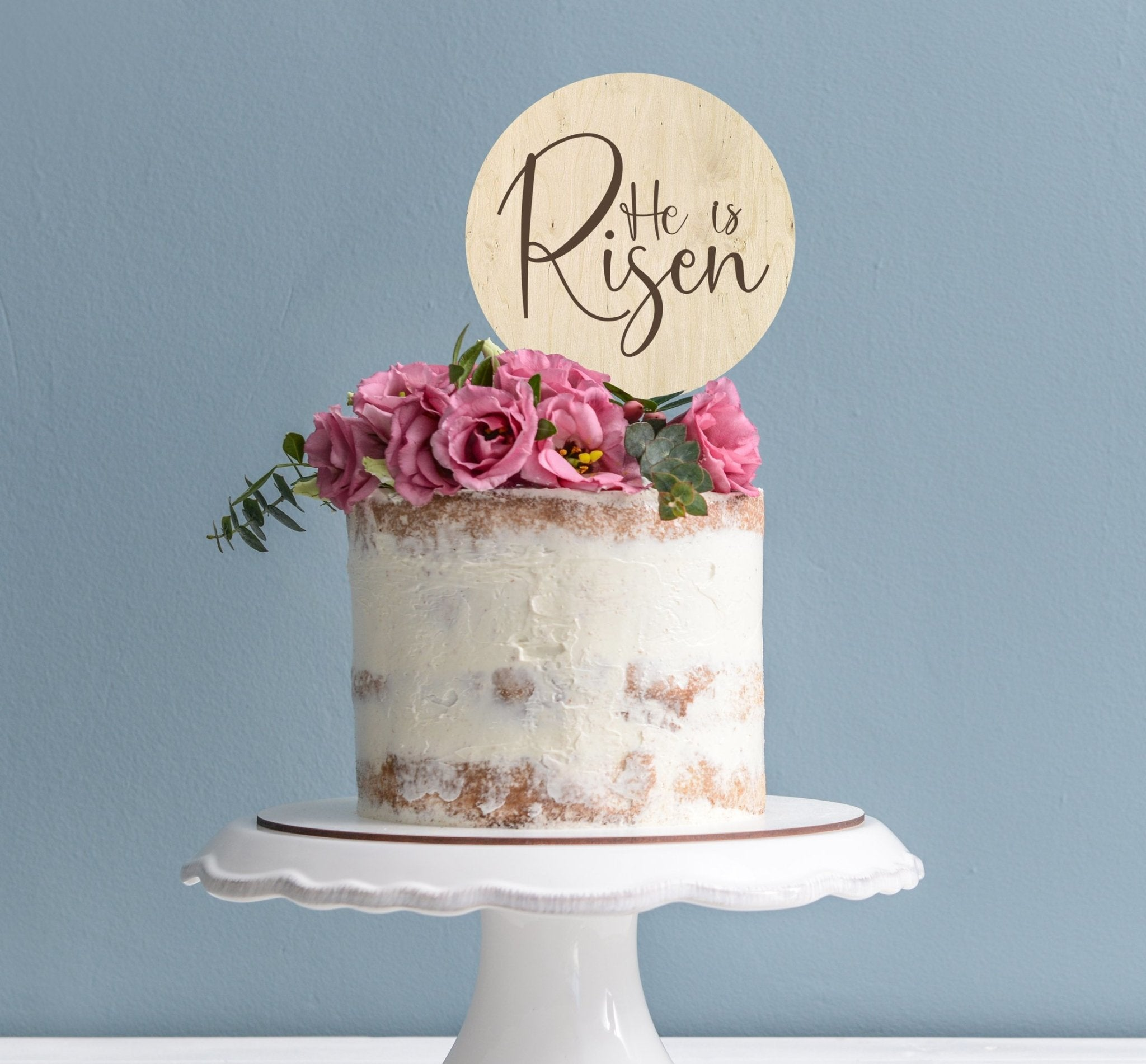 Eco Friendly wooden he is risen easter cake topper