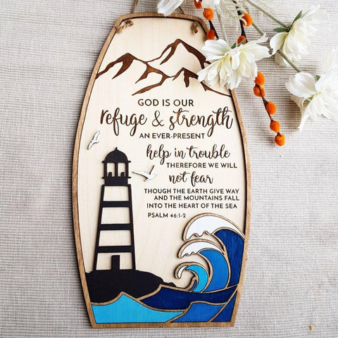 Encouraging scripture sign Psalm 46:1-3 with nautical theme - Birch and Tides