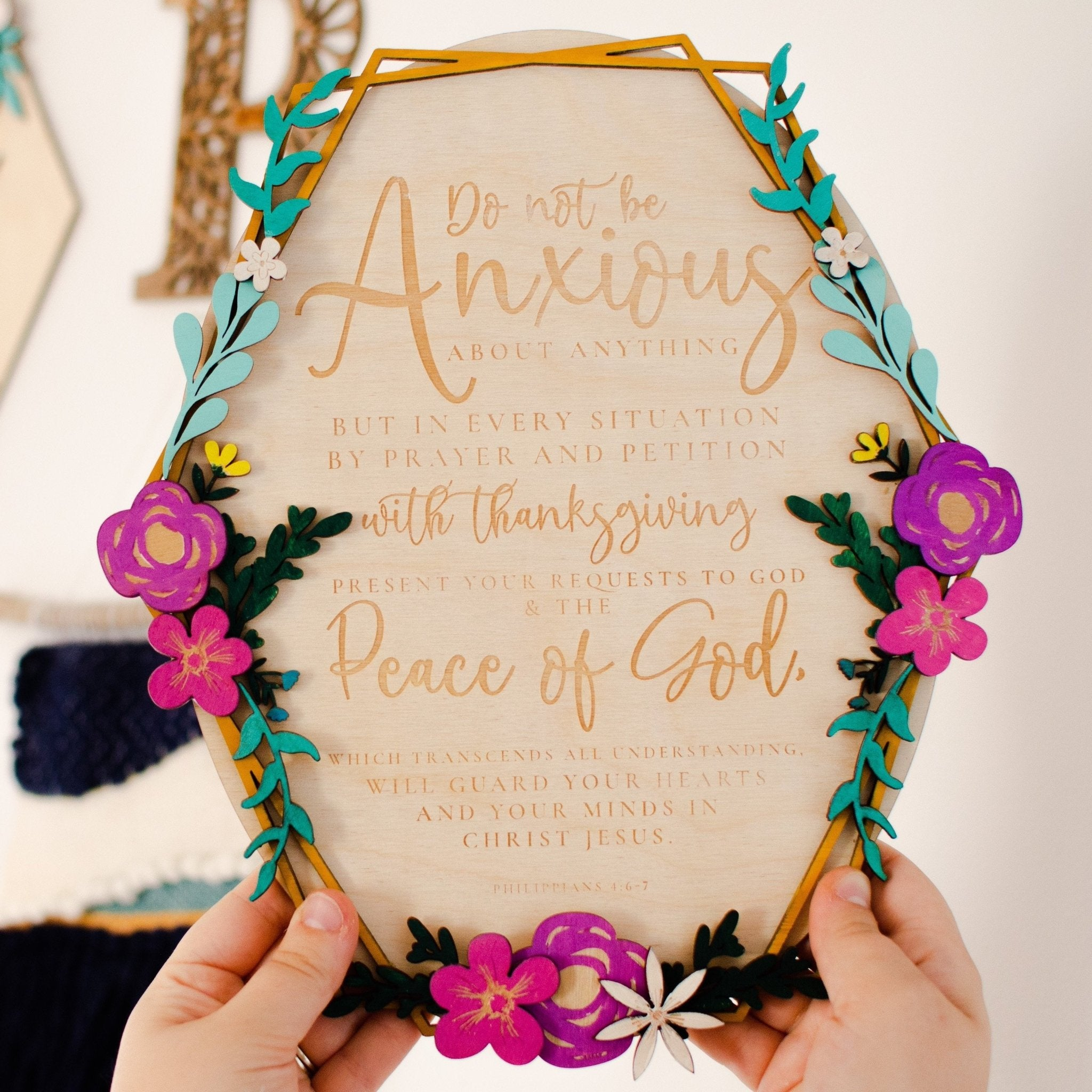 Encouraging wooden bible verse wall art - Do not be anxious