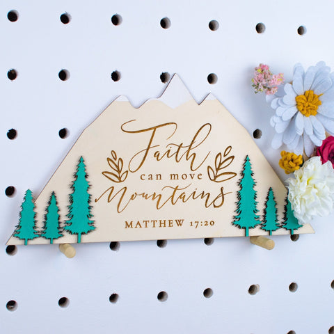 Faith can move mountains wooden sign - Birch and Tides