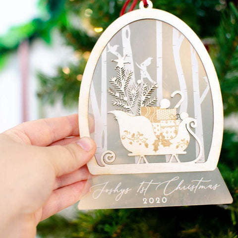 First Christmas sleigh snow globe Christmas ornament - Birch and Tides