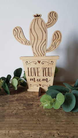 Gift for Mum Wooden engraved Succulent