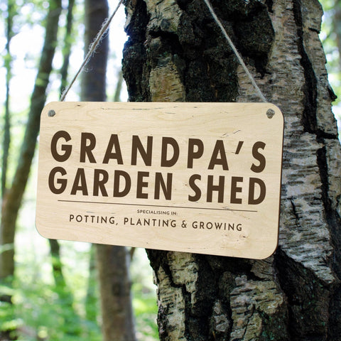 Grandpas Shed wooden personalised sign - Birch and Tides