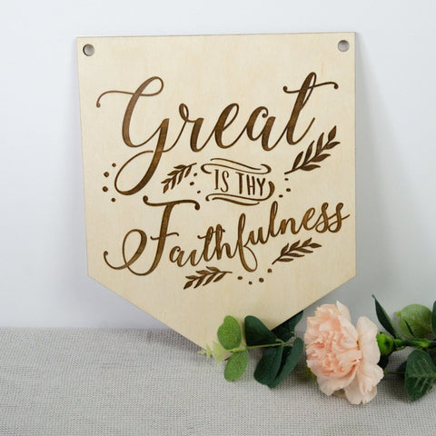 'Great Is Thy Faithfulness' Wooden Hymn Banner - Birch and Tides