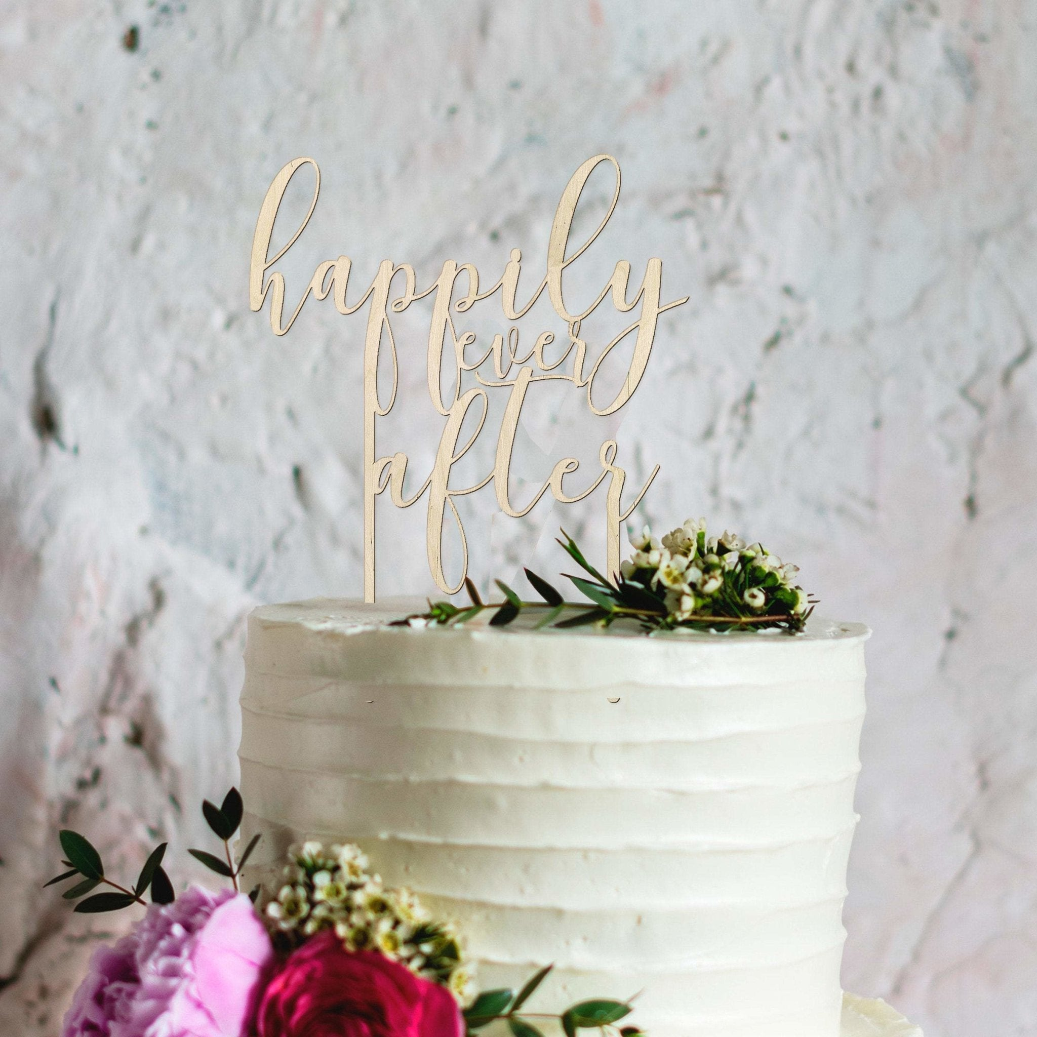 Happily ever after wooden reusable wedding cake topper