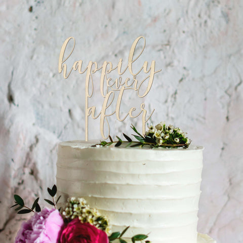Happily ever after wooden reusable wedding cake topper - Birch and Tides