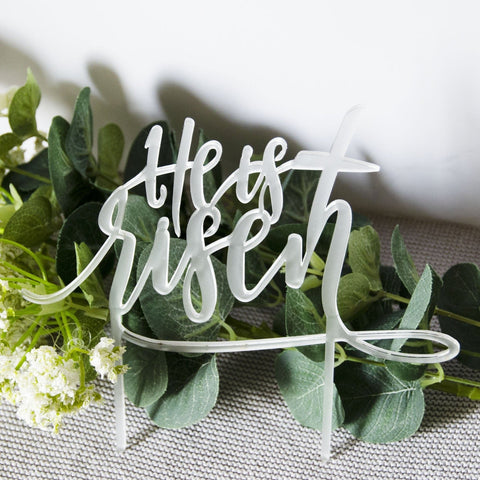 He is risen script easter cake topper - Birch and Tides