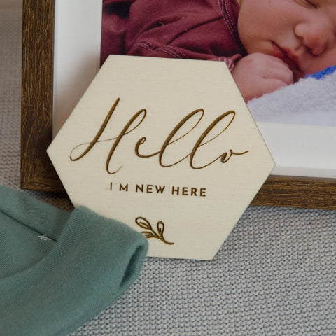 Hello I'm here Birth announcement disc - Birch and Tides