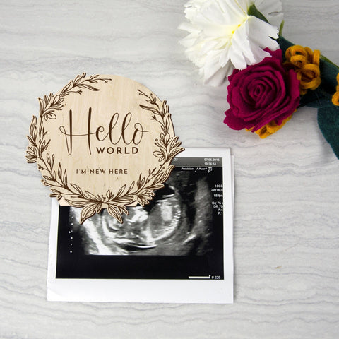 Hello world baby photo prop, eco friendly baby birth announcement - Birch and Tides