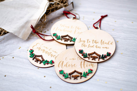 Hymn verse bauble ornament set - Birch and Tides