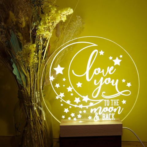 I love you to the moon & back night light - Birch and Tides