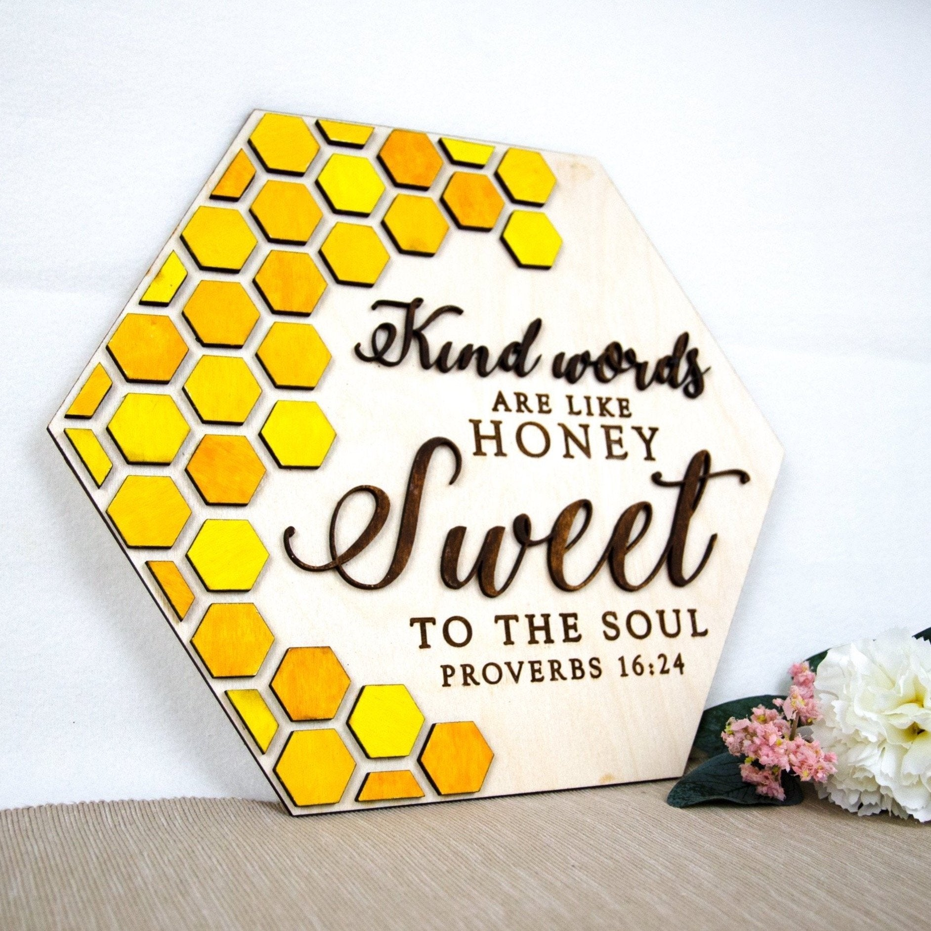 Kind words are honey wooden wall sign
