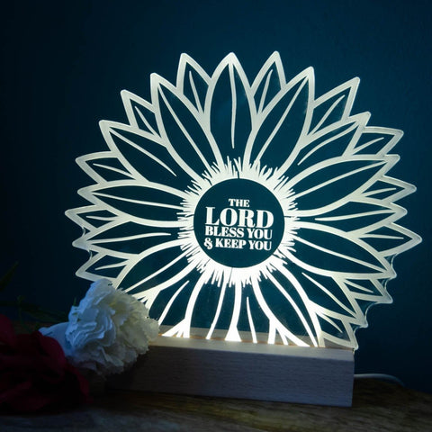 Lord Bless you and keep you sunflower night light design - Birch and Tides
