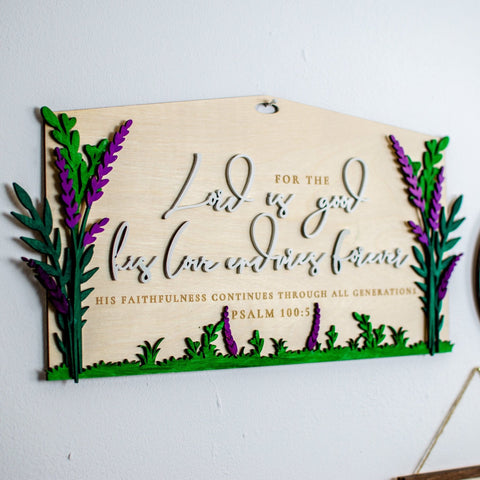 Lord is good his love endures wooden wall sign