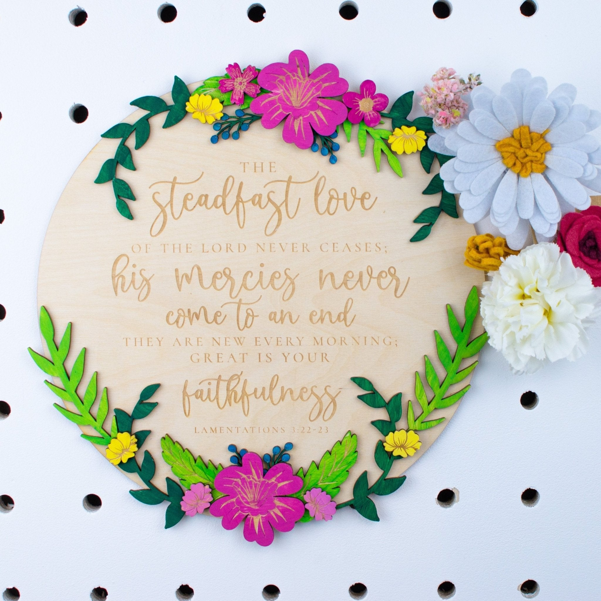 Mercies are new every morning wooden floral sign