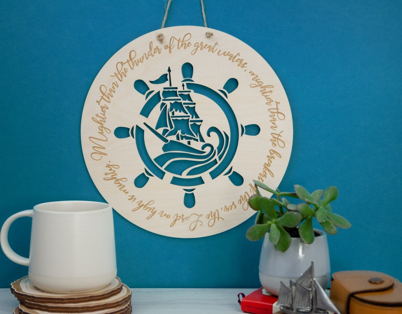 Mightier then the waves nautical christian wall art