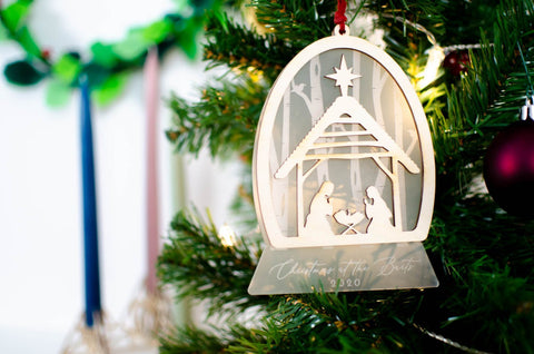 Nativity snowglobe Christmas ornament - Birch and Tides