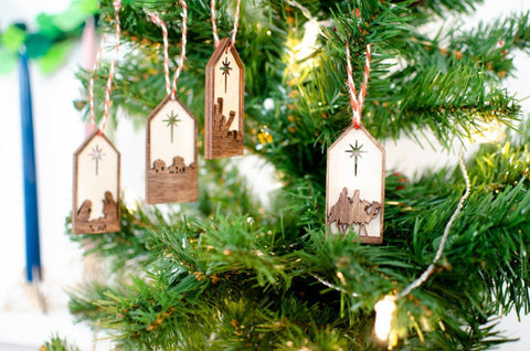 Nativity window ornaments set of 4 - Birch and Tides