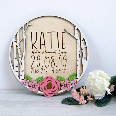 Newborn baby announcement floral plaque - Birch and Tides