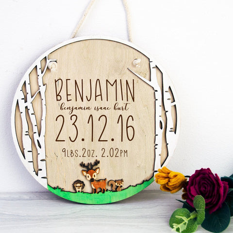 Newborn Woodland Baby stat sign - Birch and Tides