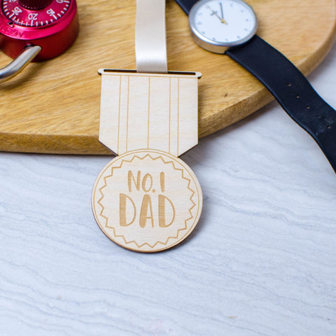No. 1 Dad wooden medal perfect for Fathers Day