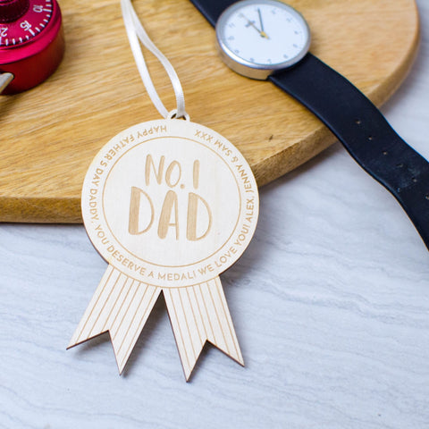 No 1. Dad wooden medal perfect for Fathers Day - Birch and Tides