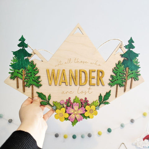 Not all who wander wooden wall sign - Birch and Tides