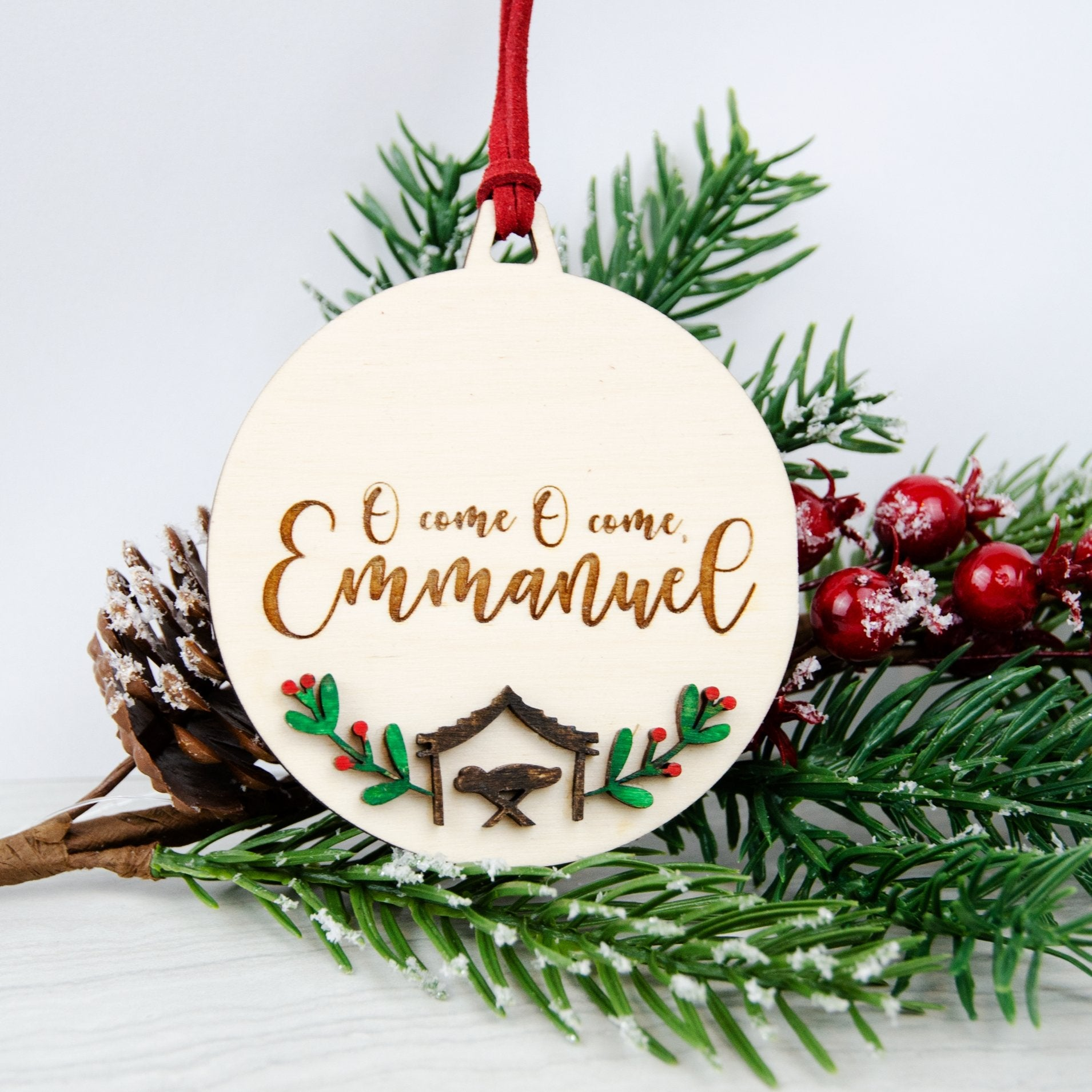O come Emmanuel wooden painted bauble decoration