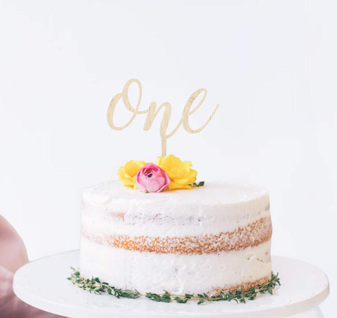 One script birthday cake topper - Birch and Tides
