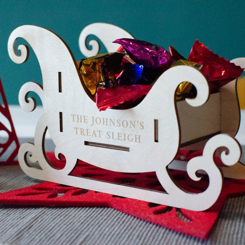 Personalised family treat sleigh Christmas centerpiece - Birch and Tides