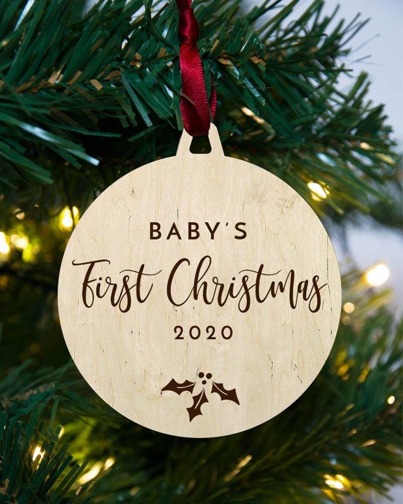 Personalised first Christmas wooden bauble