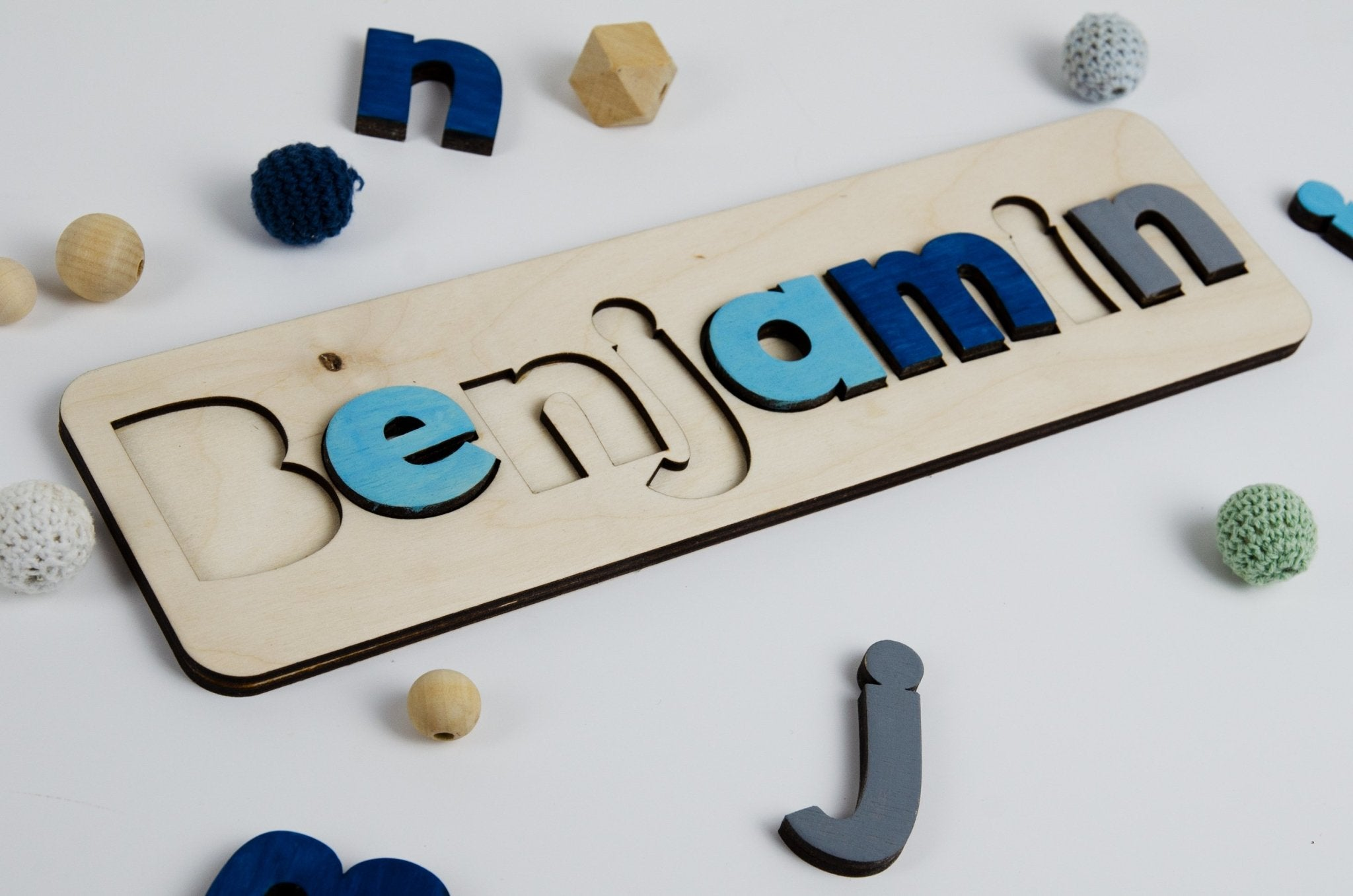 Personalised Wooden Name Puzzle in Blue