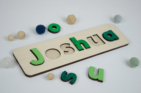 Personalised Wooden Name Puzzle in Green - Birch and Tides