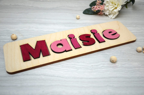 Personalised Wooden Name Puzzle in Pinks - Birch and Tides
