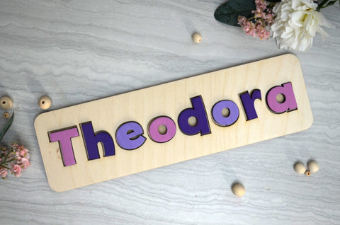 Personalised Wooden Name Puzzle in Purple - Birch and Tides