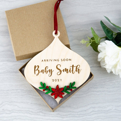 Pregnancy announcement Christmas engraved ornament - Birch and Tides