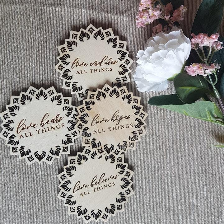 Qualities of Love set of 4 laser cut coasters