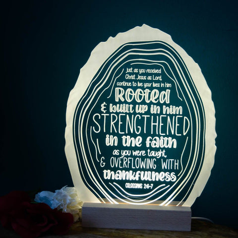 Rooted in Christ night light design - Birch and Tides