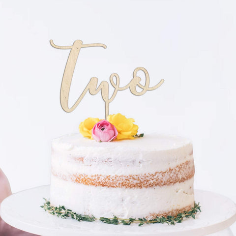 Second birthday wooden cake topper - Birch and Tides
