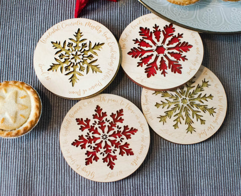 Set of 4 Christmas verse coaster - Birch and Tides